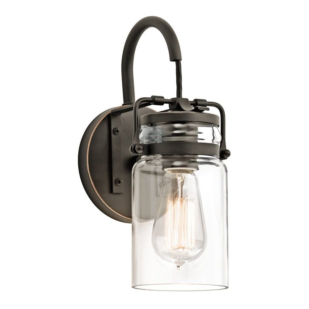 Glass Jar Wall Lights : Vintage Style Glass Jar Wall Light with Bronze Fitting