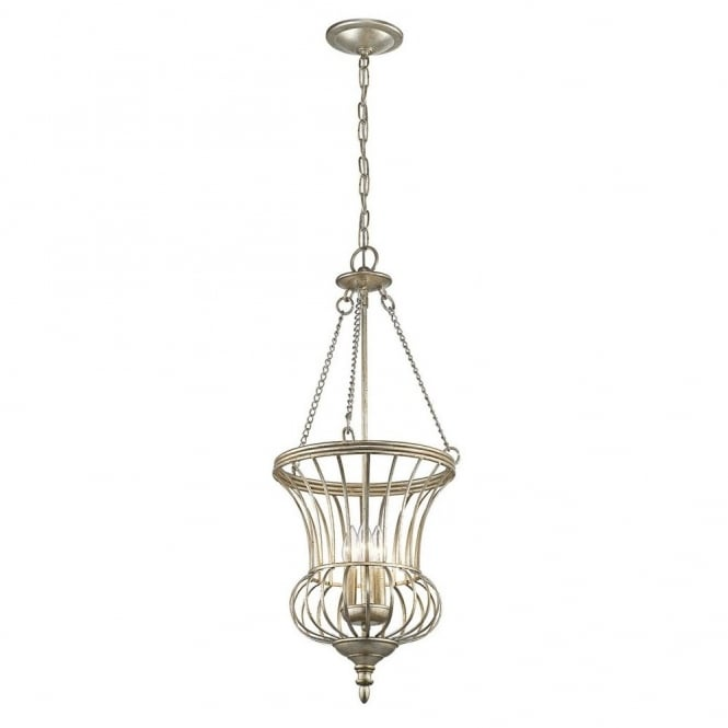New York Lighting Collection CALLA sterling gold traditional teardrop frame lantern ceiling pendant (medium)