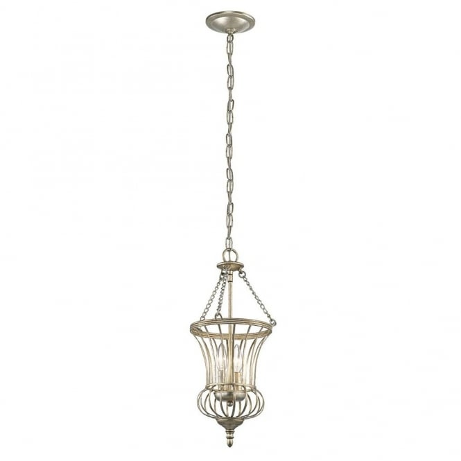New York Lighting Collection CALLA sterling gold traditional teardrop frame lantern ceiling pendant (small)