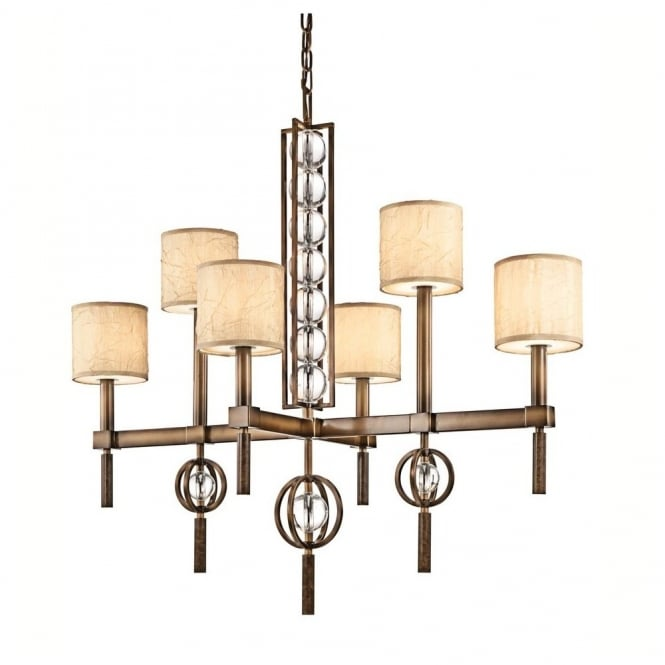 New York Lighting Collection CELESTIAL modern 6lt rectangular chandelier in bronze with crystal spheres & fabric shades