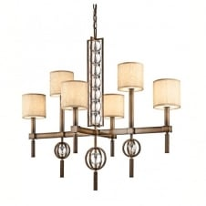 contemporary 6 light chandelier in bronze with crystal spheres & fabric shades