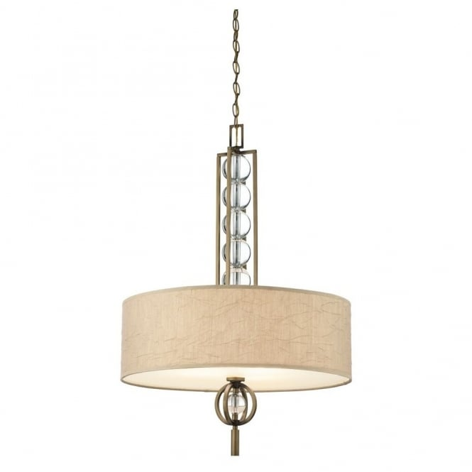 New York Lighting Collection CELESTIAL modern ceiling pendant in bronze with crystal spheres & fabric shade