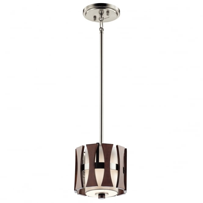 New York Lighting Collection CIRUS mini ceiling pendant in auburn stained wood finish