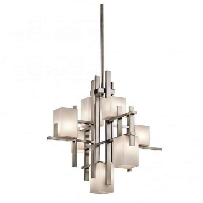 New York Lighting Collection CITY LIGHTS modern geometric 7lt chandelier in pewter with squared opal glass shades