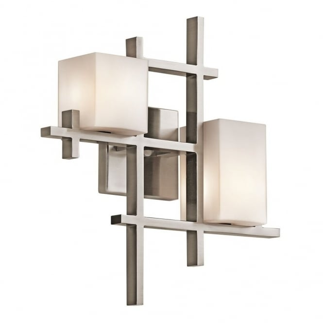 CITY LIGHTS modern geometric double wall light in pewter with squared opal glass shades