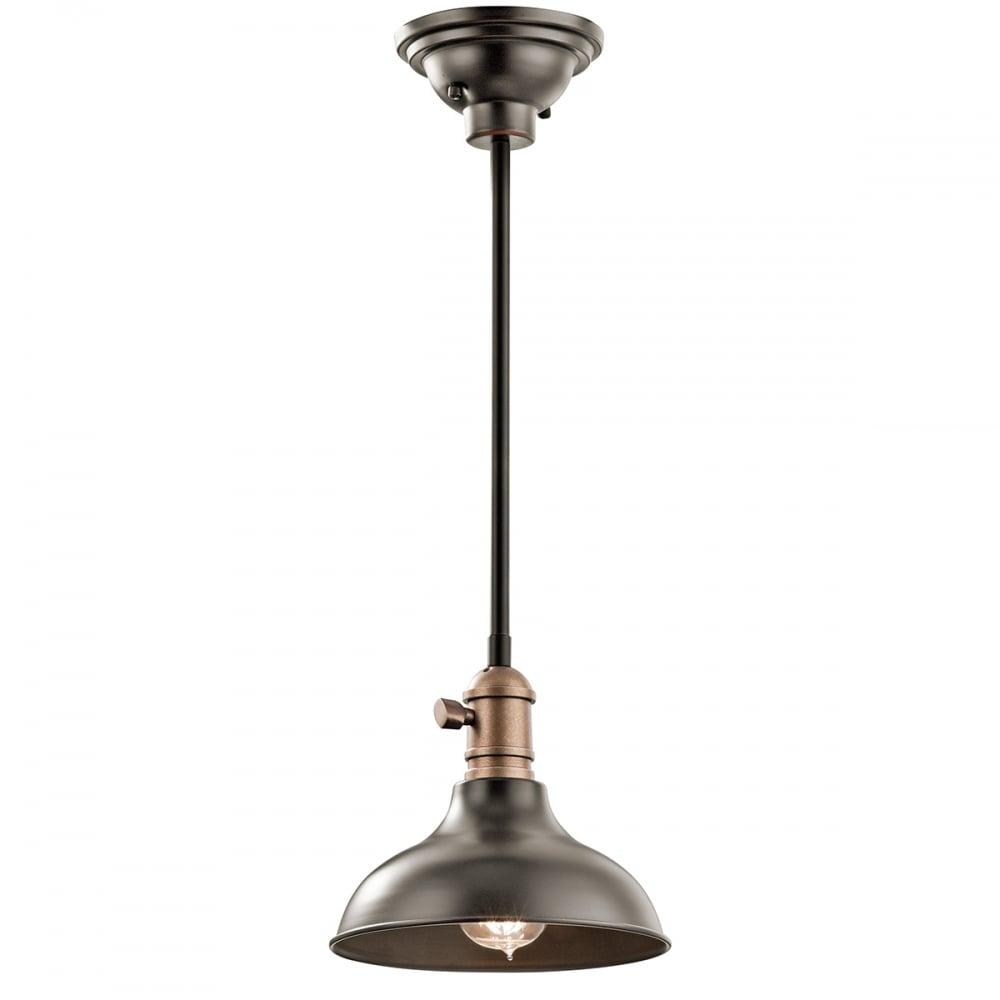 Retro Industrial Single Ceiling Pendant In Old Bronze Finish