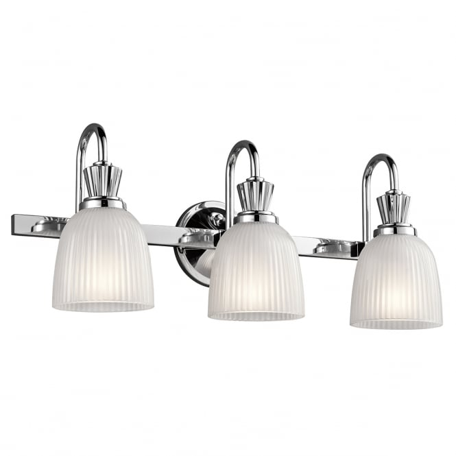 New York Lighting Collection CORA polished chrome 3 light bathroom wall light with ribbed glass shades