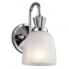 modern classic polished chrome bathroom wall light with glass shade