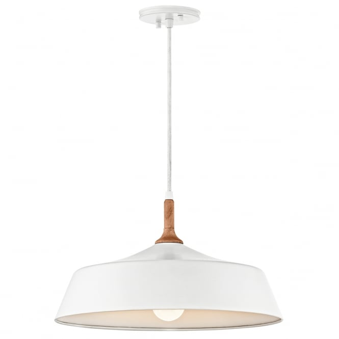 DANIKA mid century modern white ceiling pendant with wooden accent