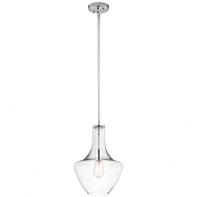 EVERLY modern clear glass and chrome pendant (small)