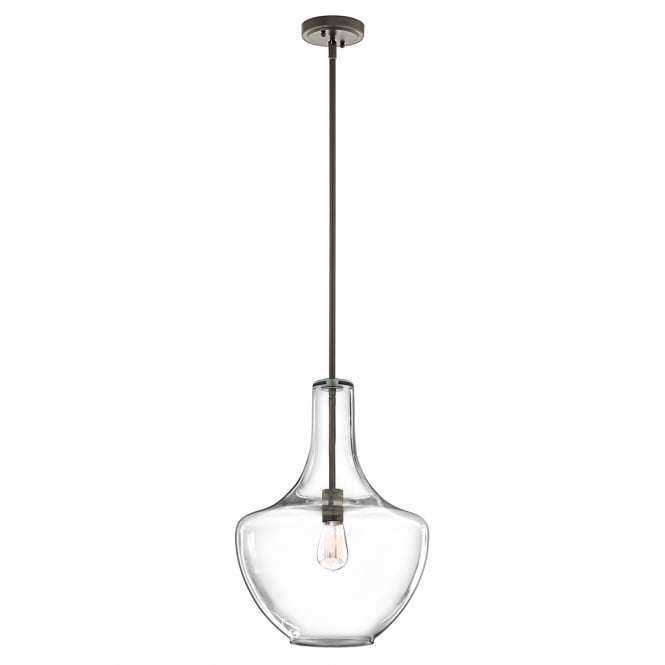EVERLY modern clear glass and old bronze pendant (medium)