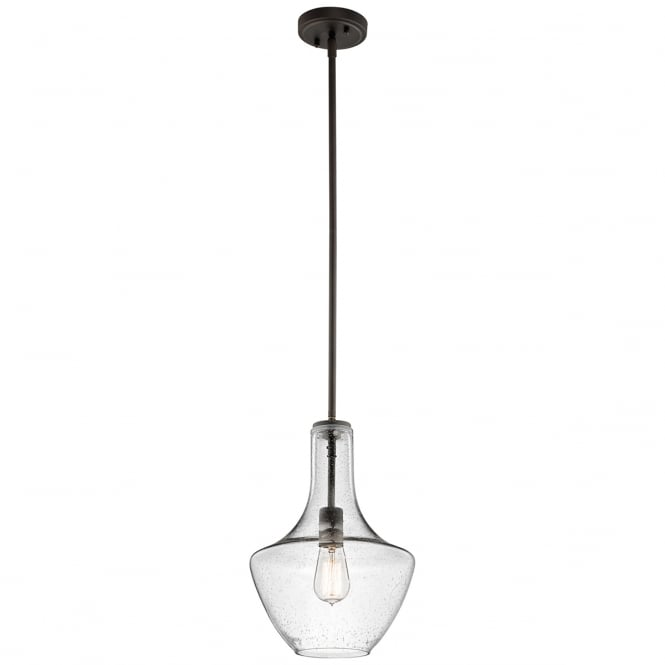 EVERLY modern clear seeded glass and old bronze pendant (small)
