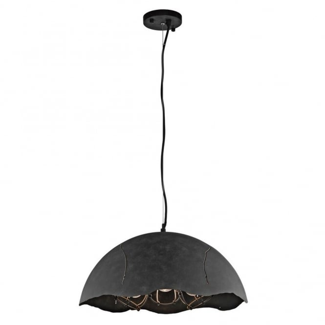 New York Lighting Collection FRACTURE vintage industrial style 3lt ceiling pendant in a weathered zinc finish