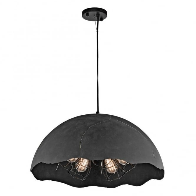 FRACTURE vintage industrial style 5lt ceiling pendant in a weathered zinc finish