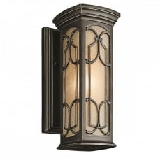 Gothic outdoor wall lantern in bronze with amber tint glass