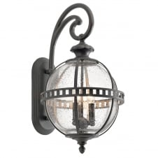 Victorian style outdoor globe wall lantern in Londonderry finish