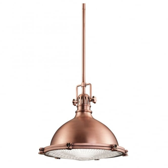 New York Lighting Collection HATTERAS BAY industrial ceiling pendant for coastal settings in antique copper finish (medium)