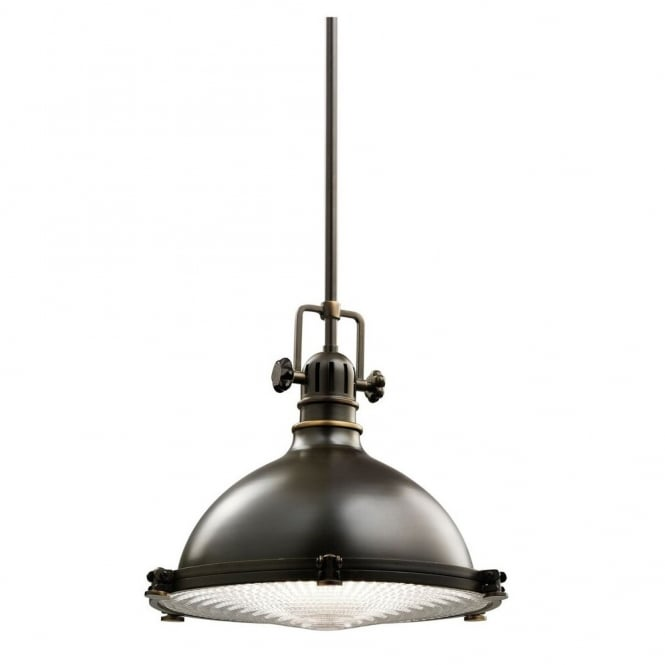 New York Lighting Collection HATTERAS BAY industrial ceiling pendant for coastal settings in old bronze finish (medium)
