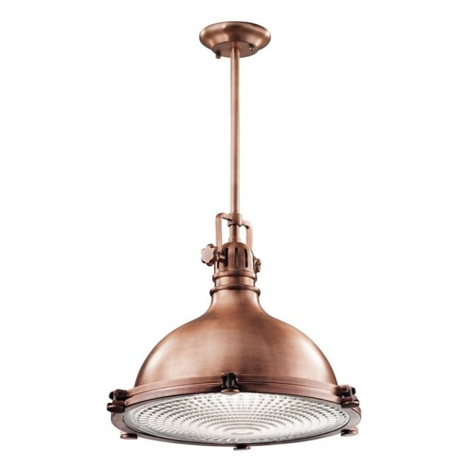 New York Lighting Collection HATTERAS BAY x-large industrial ceiling pendant for coastal settings in antique copper finish