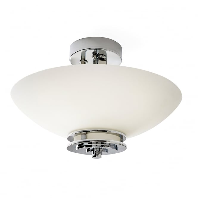 HENDRIK semi flush polished chrome bathroom ceiling light with opal glass