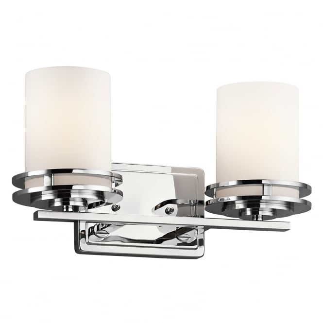 New York Lighting Collection HENDRIK twin chrome bathroom wall light with opal glass shades