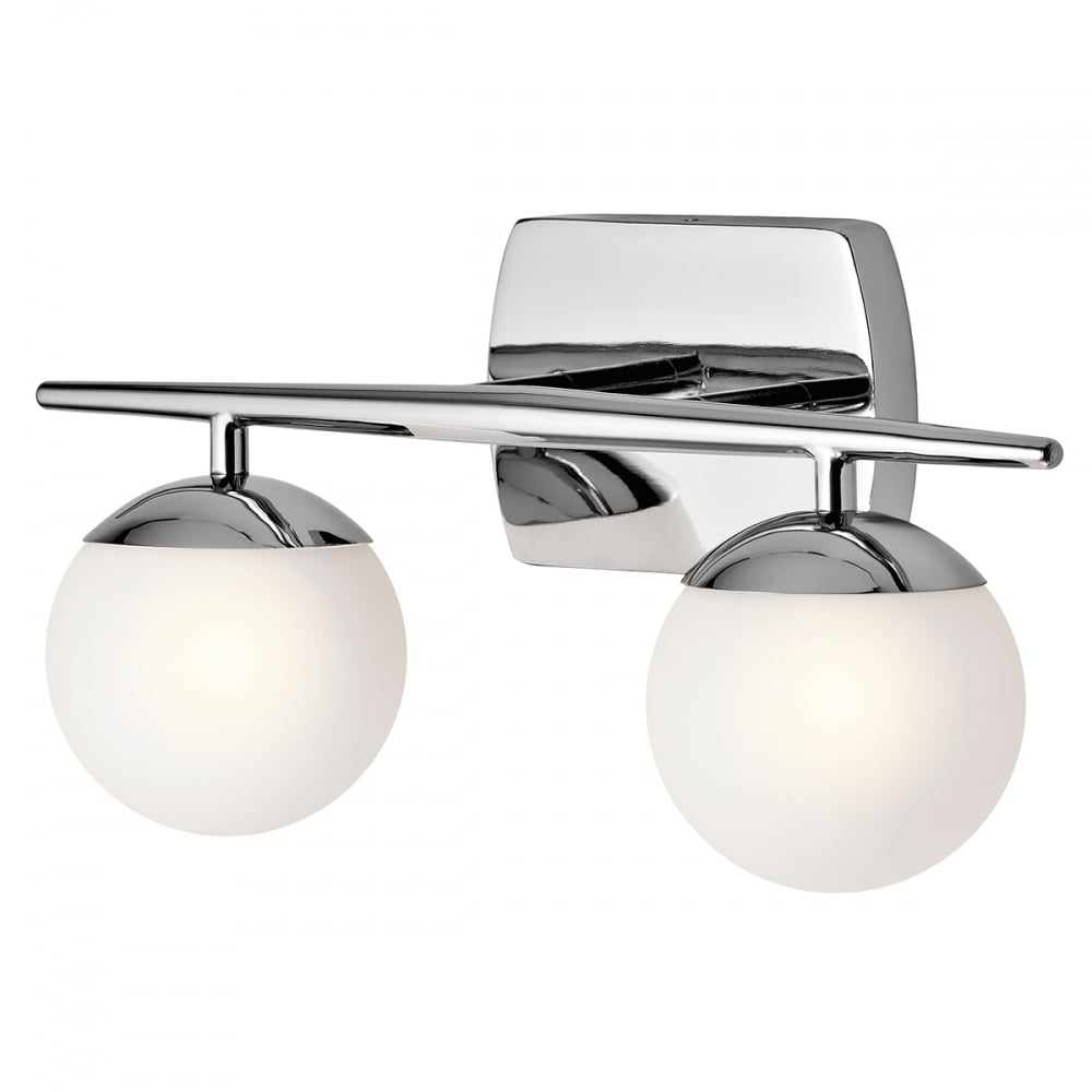 Contemporary polished chrome bathroom wall light with opal glass globe contemporary chrome bathroom wall light with opal glass shades aloadofball Images