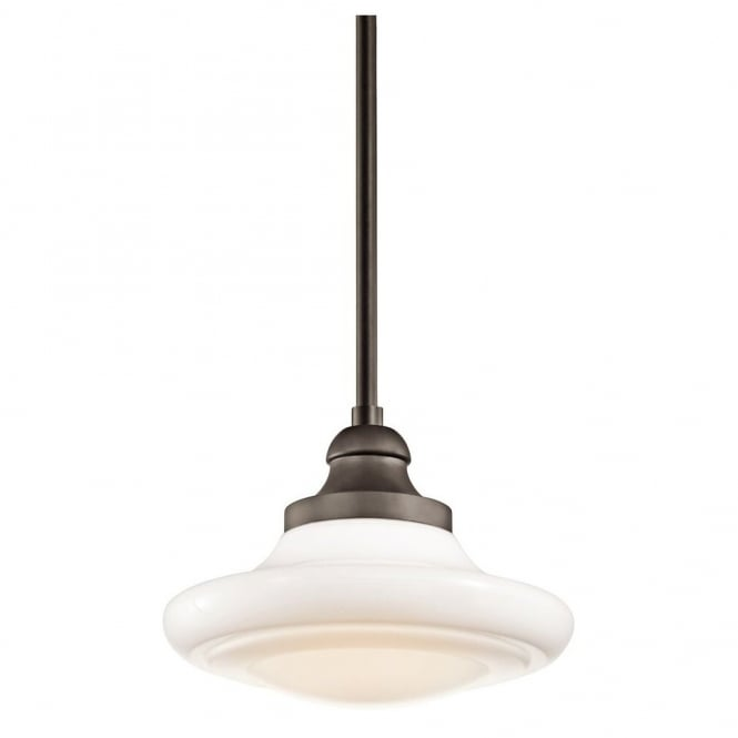 New York Lighting Collection KELLER vintage schoolhouse pendant in old bronze with opal glass (dual mountable - small)