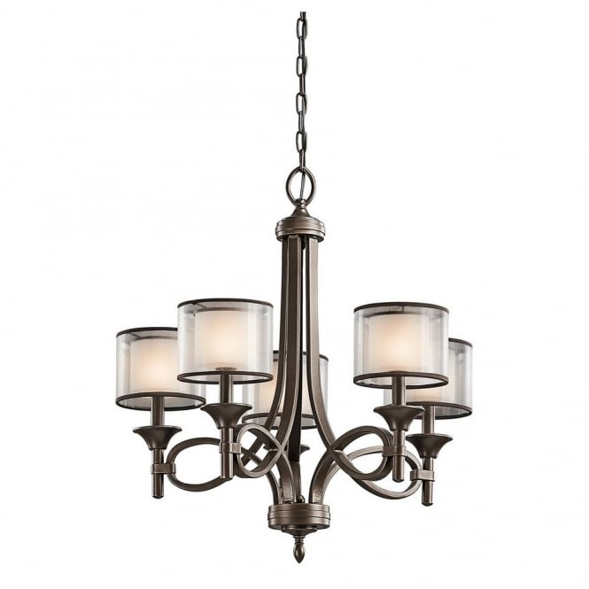 New York Lighting Collection LACEY modern 5lt chandlier in bronze with mesh screen and opal inner glass shades
