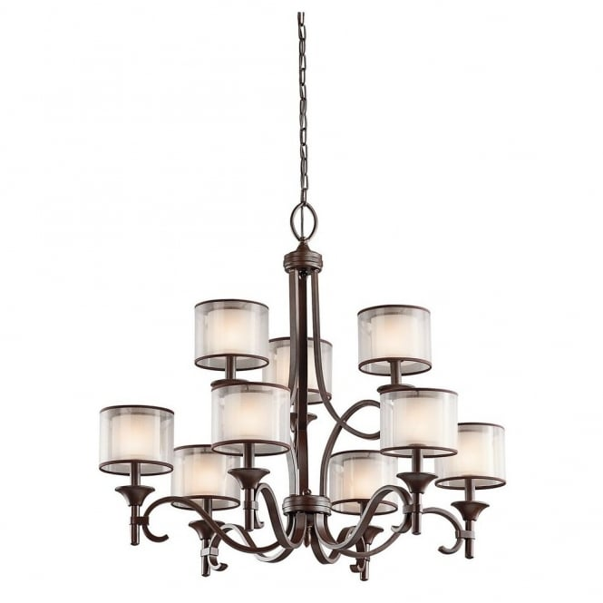 New York Lighting Collection LACEY modern 9lt chandlier in bronze with mesh screen and opal inner glass shades