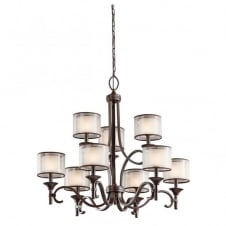 9 light bronze chandelier with mesh shade and opal inner glasses