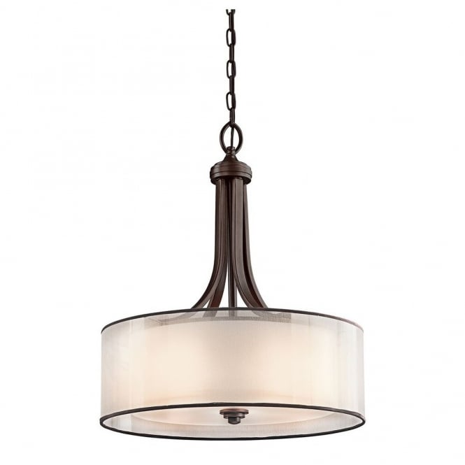 New York Lighting Collection LACEY modern ceiling pendant in bronze with mesh screen and opal inner glass shade