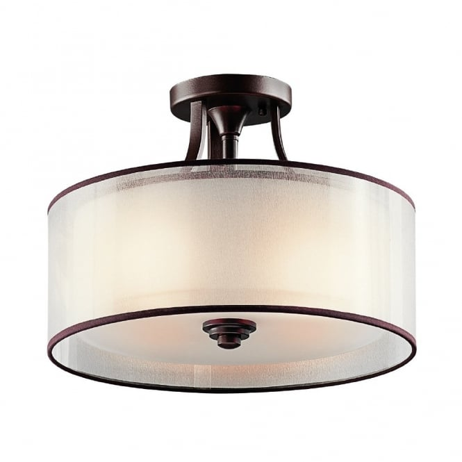 New York Lighting Collection LACEY modern semi flush ceiling light in bronze with mesh screen and opal inner glass shade