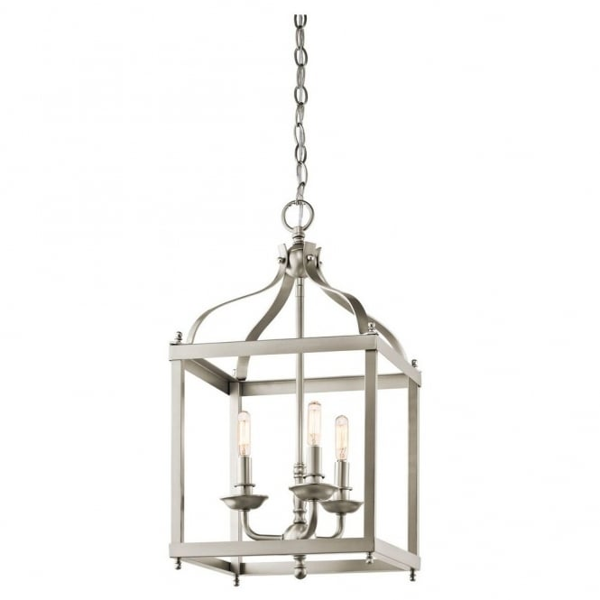 New York Lighting Collection LARKIN minimalist coach lantern ceiling pendant in brushed nickel (medium)