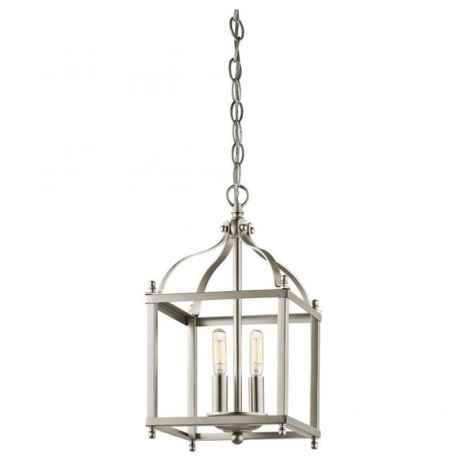 New York Lighting Collection LARKIN minimalist coach lantern ceiling pendant in brushed nickel (small)