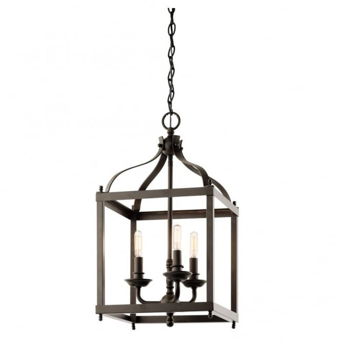New York Lighting Collection LARKIN minimalist coach lantern ceiling pendant in old bronze (medium)