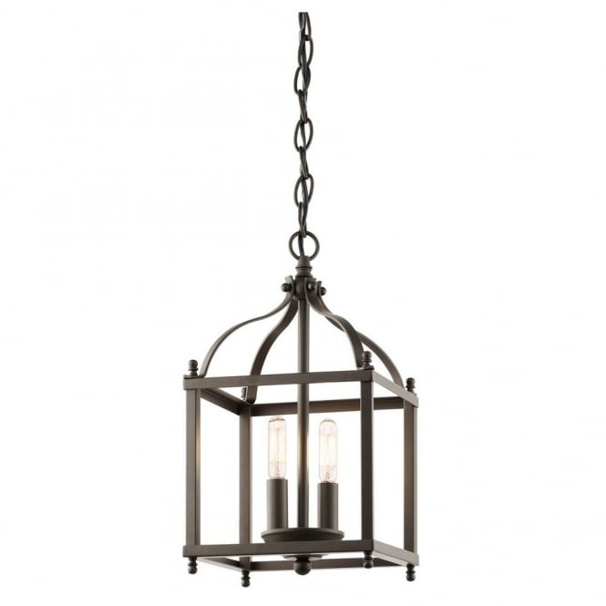 New York Lighting Collection LARKIN minimalist coach lantern ceiling pendant in old bronze (small)