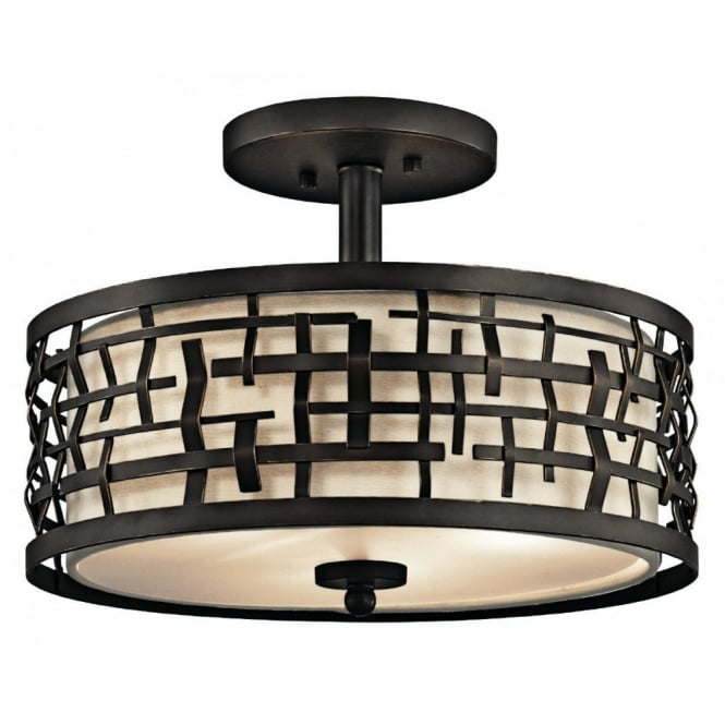 New York Lighting Collection LOOM Art Deco Mackintosh duo-mount pendant in bronze with fabric inner shade & glass diffuser