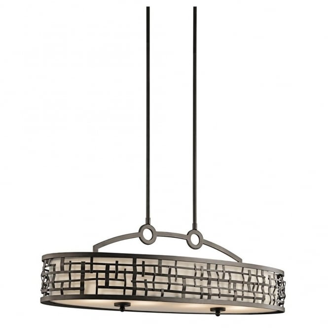 New York Lighting Collection LOOM Art Deco Mackintosh oval island chandelier in bronze with fabric inner shade & glass diffuser