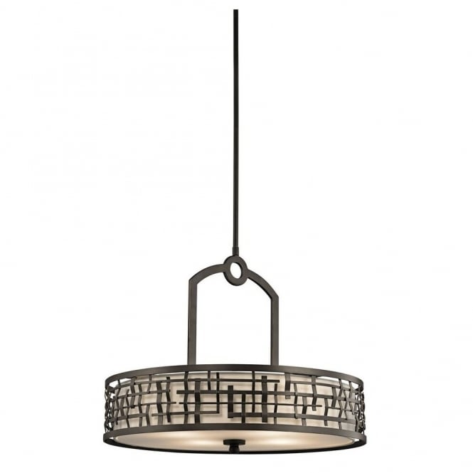 New York Lighting Collection LOOM Art Deco Mackintosh pendant in bronze with fabric inner shade & glass diffuser