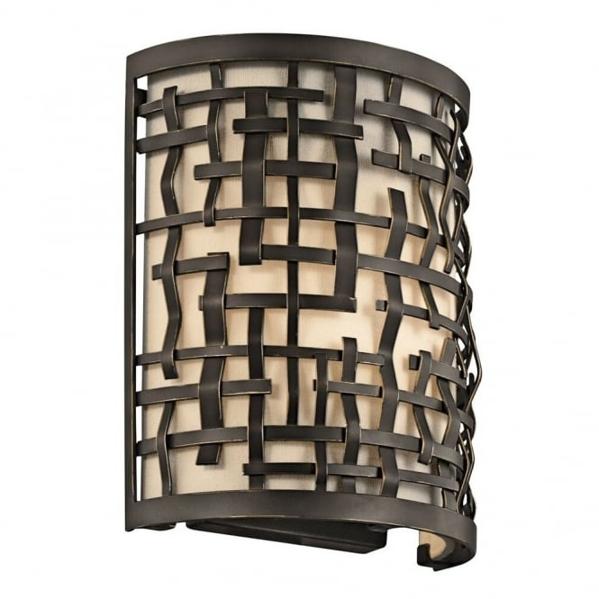 New York Lighting Collection LOOM Art Deco Mackintosh wall light in bronze with inner shade diffuser