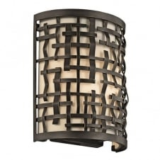 LOOM Art Deco Mackintosh wall light in bronze with inner shade diffuser