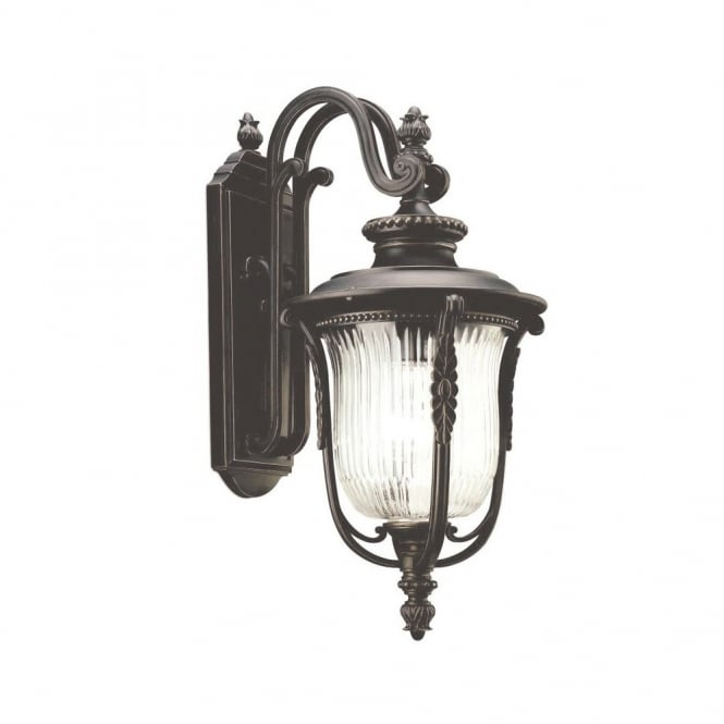 LUVERNE traditional outdoor wall coach lantern in rubbed bronze with ribbed glass shade