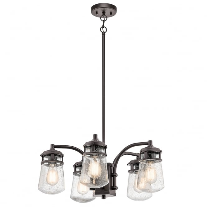 New York Lighting Collection LYNDON rustic 5 light exterior chandelier in bronze with seeded glasses