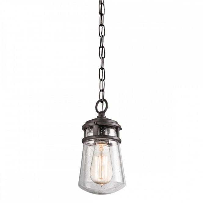 LYNDON rustic bronze and seeded glass hanging porch light