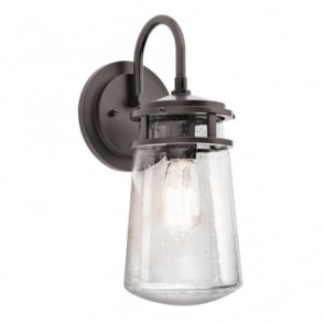 New York Lighting Collection LYNDON rustic bronze and seeded glass outdoor wall lantern (medium)
