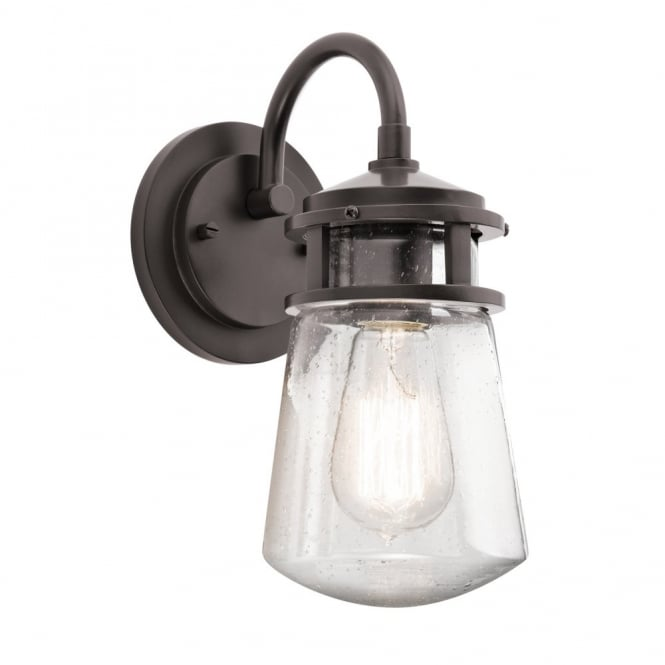 Rustic Outdoor Wall Lantern In Dark Bronze With Clear Seeded Glass Shade