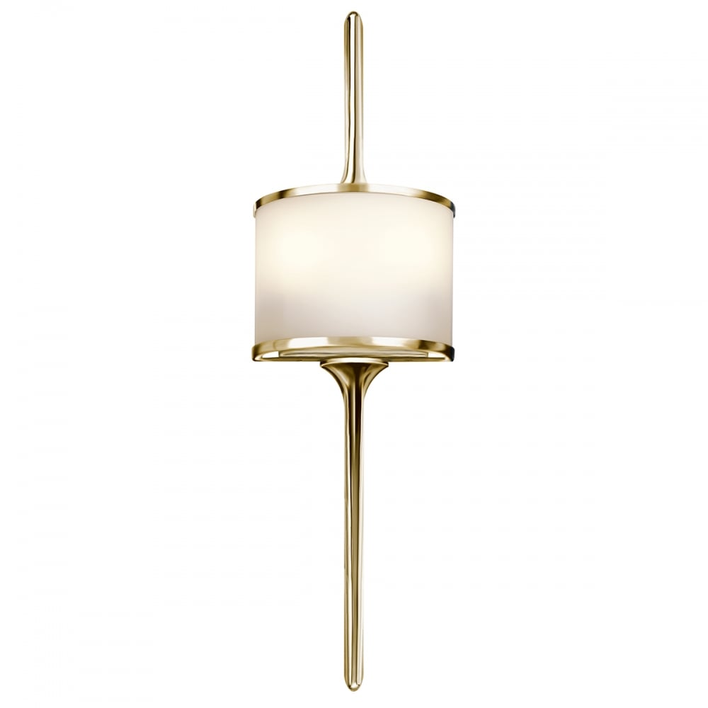 Modern Bathroom Wall Light in Polished Brass with Opal Glass
