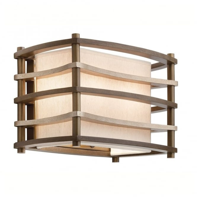 New York Lighting Collection MOXIE box Art Deco wall light with bronze bar frame & fabric inner shade