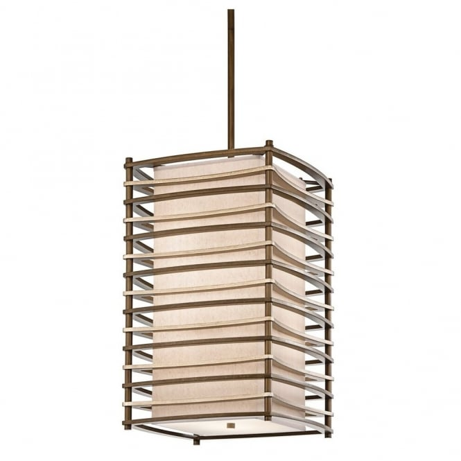 New York Lighting Collection MOXIE linear box Art Deco ceiling pendant with bronze bar frame & fabric inner shade