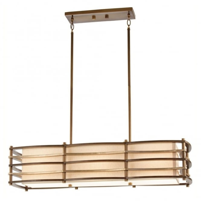 New York Lighting Collection MOXIE rectangular Art Deco ceiling pendant with bronze bar frame & fabric inner shade